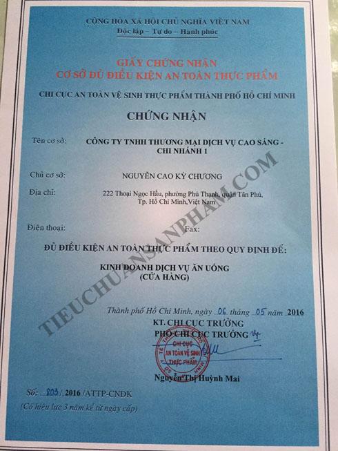 Mẫu giấy chứng nhận vệ sinh an toàn thực phẩm